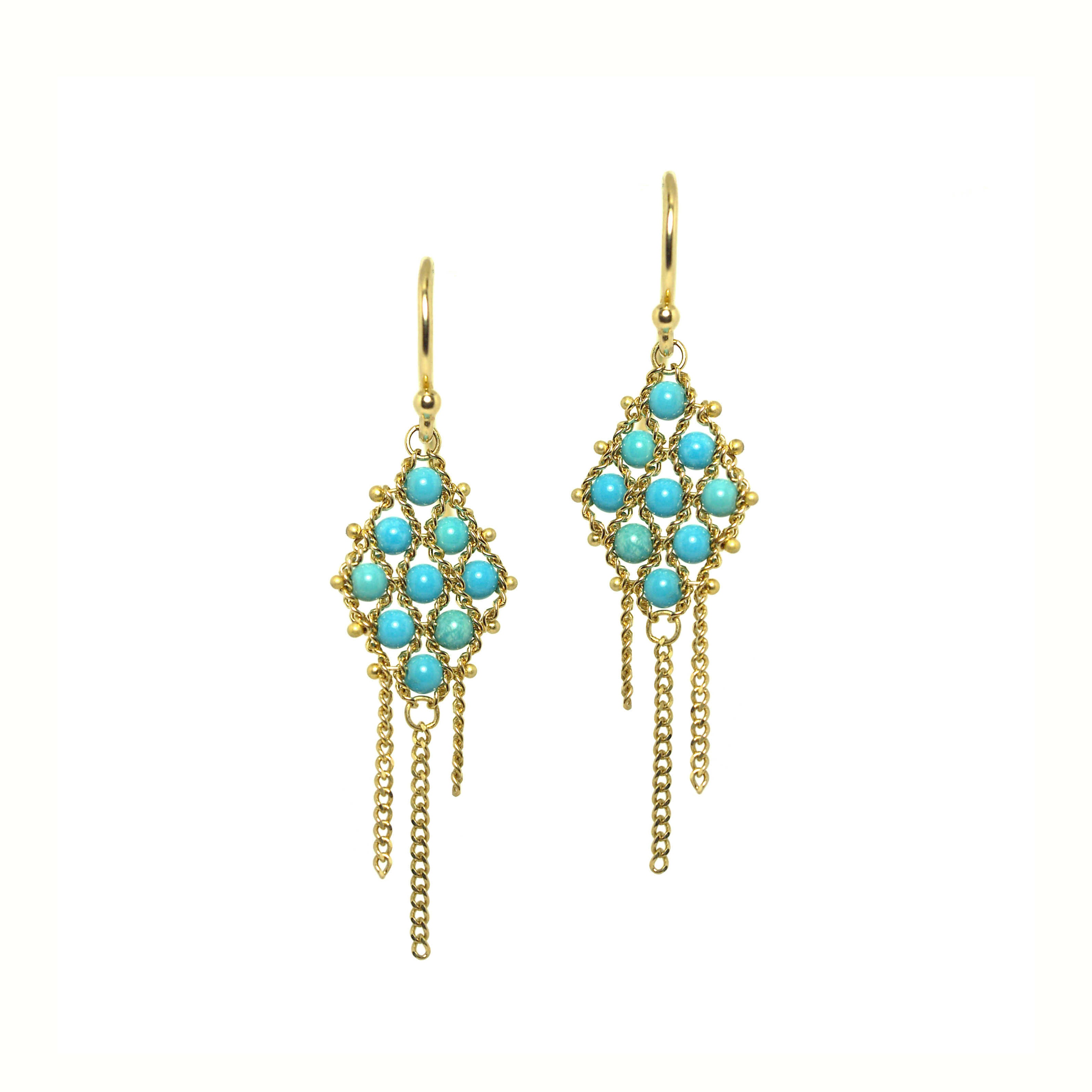 0e3f754501067 yellow gold textile turquoise earrings